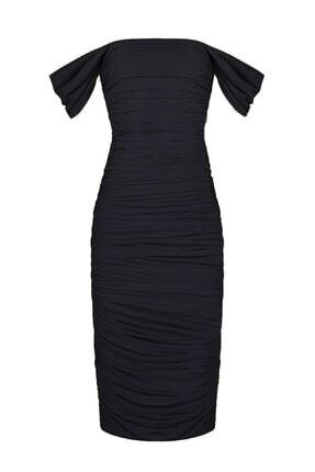 Whenever Company Siyah Düşük Kol Degajeli Drapeli Midi Elbise 0