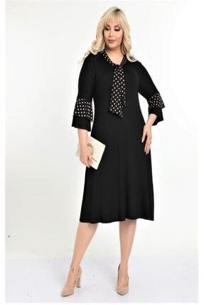 HERAXL Kadın Siyah Kravatlı Kahve Puantiye Detaylı Midi Elbise 1