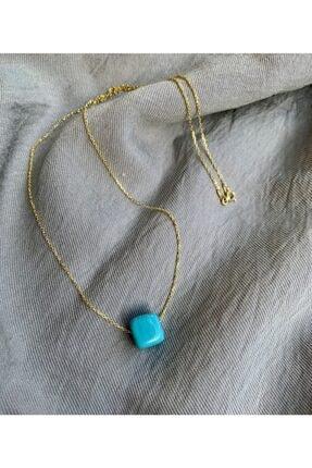 Vetro Arte Altın Kaplama 925 Ayar Gümüş El Yapımı Mavi Küp Kolye 0