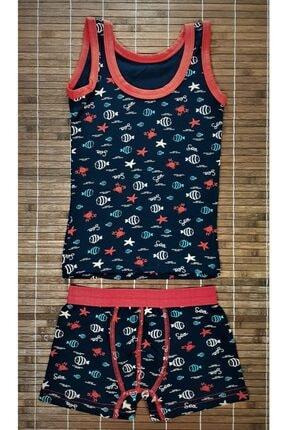 ADN Underwear 3 Adet Erkek Çocuk Ikili Takım Atlet Boxer Şort Külot Pamuklu Karışık Renkli Balık Desenli 1