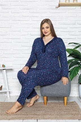 Sude Kadın Lacivert Büyük Beden Bamboo Uzun Kollu Pijama Takımı 0