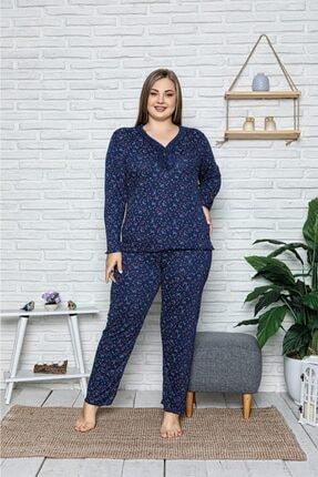 Sude Kadın Lacivert Büyük Beden Bamboo Uzun Kollu Pijama Takımı 1
