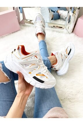 ELSESHOES Unısex Beyaz Turuncu Sneaker 2