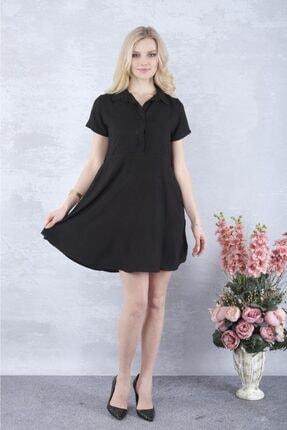 YAKAMOZ34BUTİK Kadın Siyah Önden Yarı Düğmeli Elbise 1