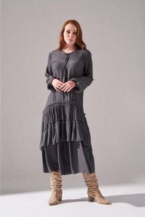 Mizalle Kolları Büzgülü Kat Detaylı Elbise (Gri) 4