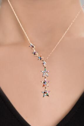 Papatya Silver Kadın 925 Ayar Gümüş Renkli Taşlı Kayan Yıldızlar Kolye 0