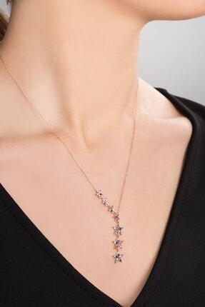 Papatya Silver Kadın 925 Ayar Gümüş Renkli Taşlı Kayan Yıldızlar Kolye 1