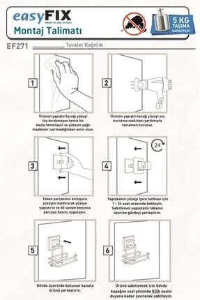 Teknotel Delme Vida Matkap Yok! Easyfıx Yapışkanlı Tuvalet Kağıtlık Mat Siyah Ef271 3