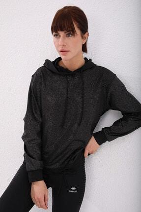 Tommy Life Siyah Gümüş Varak Kadın Kanguru Cep Büzgü Detaylı Rahat Form Kapüşonlu Sweatshirt 1