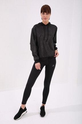 Tommy Life Siyah Gümüş Varak Kadın Kanguru Cep Büzgü Detaylı Rahat Form Kapüşonlu Sweatshirt 2