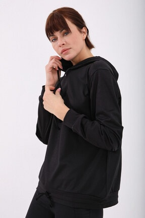 Tommy Life Kadın Siyah Varak Kanguru Cep Büzgü Detaylı Kapüşonlu Sweatshirt 2