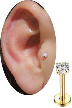 SHESTAKI Gold Renkli Taşlı Tragus Helix Cerrahi Çelik Kulak Kıkırdak Piercing 8 mm 0