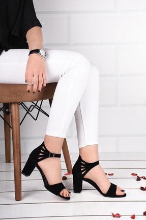 Weynes Kadın Siyah Süet Bilek Bağlamalı Topuklu Ayakkabı Ba19094 0