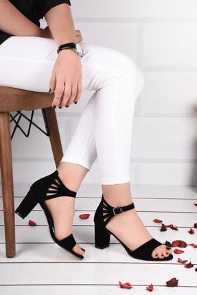 Weynes Kadın Siyah Süet Bilek Bağlamalı Topuklu Ayakkabı Ba19094 2