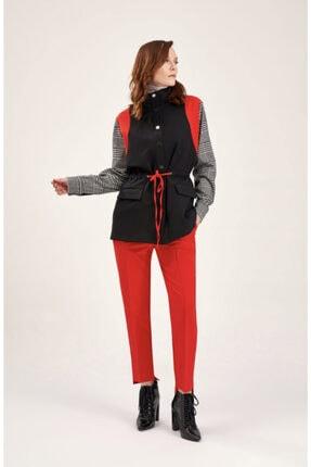 Kadın Siyah Ekose Detaylı Ceket nars ekose detaylı ceket
