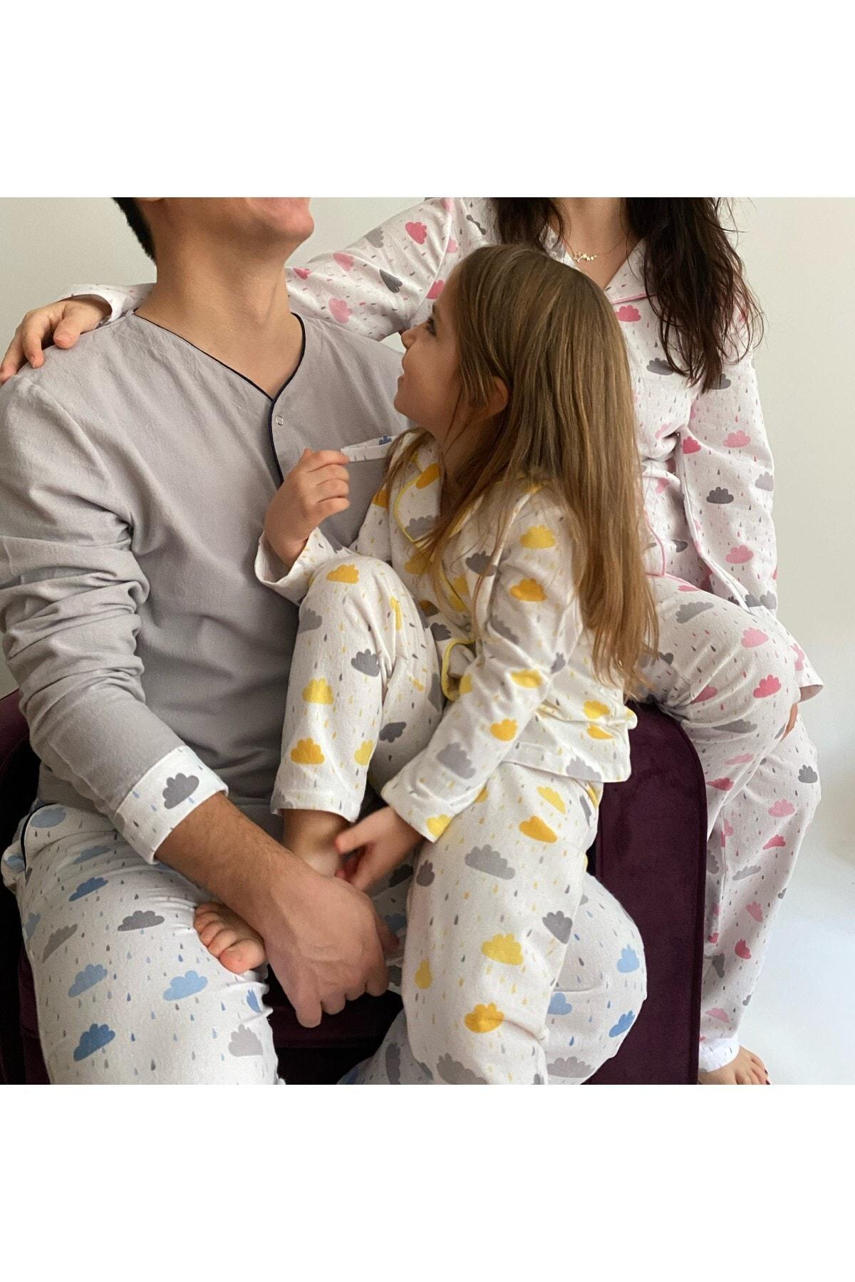 Kadın Pembe Pamuk Pazen Aile Pijama Takımı