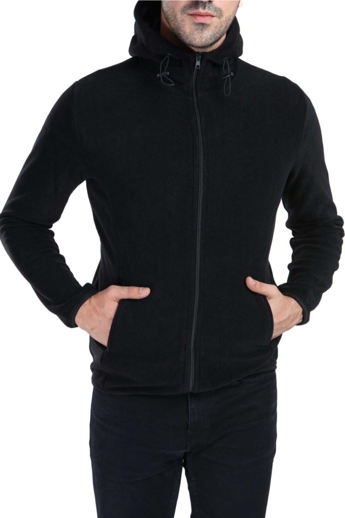 Erkek Siyah Kapüşonlu Polar Ceket