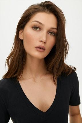 Soufeel Kadın Siyah V Yaka Oversize Classic Bluz Yuvarlak Detay Kısa Kol Tişört 1