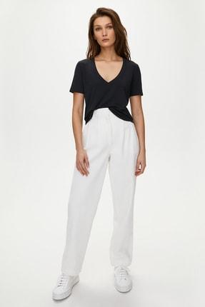 Soufeel Kadın Siyah V Yaka Oversize Classic Bluz Yuvarlak Detay Kısa Kol Tişört 2