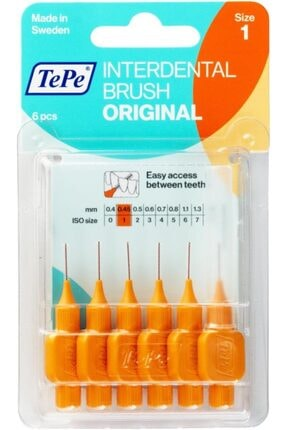TePe Interdental Brush Diş Arası Fırçası 0.45mm No:1 - Turuncu Blister 6'lı Paket 0