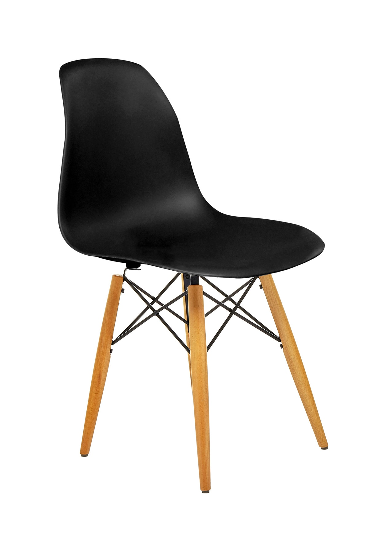Siyah Eames Sandalye - Natural Ahşap Ayaklı