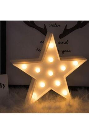 ErdemShop Led Işıklı Beyaz Yıldız Star Masa Duvar Gece Lambası 3d 2