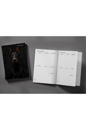 Pelikan Yayınları Black Doberman Dog On A Black Background Weekly Planner & Notebook 1