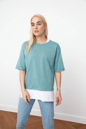 TRENDYOLMİLLA Mint Süprem Parça Detaylı Boyfriend Örme T-Shirt TWOSS20TS0858 4