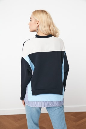 TRENDYOLMİLLA Lacivert Renk Bloklu Salaş Örme Sweatshirt TWOSS20SW0087 4