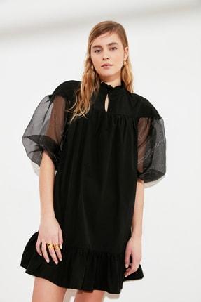 TRENDYOLMİLLA Siyah Organze Kollu Elbise TWOSS21EL0952 1
