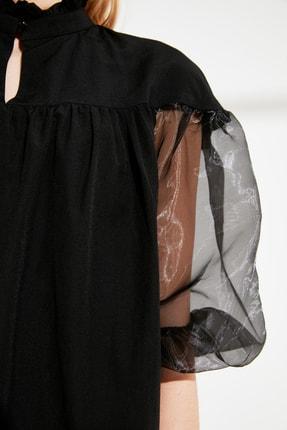 TRENDYOLMİLLA Siyah Organze Kollu Elbise TWOSS21EL0952 2