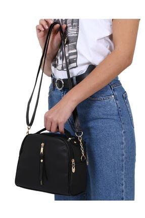 MEFA MARKET Siyah Çanta Kadın El Omuz Uzun Deri Saplı 1