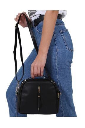 MEFA MARKET Siyah Çanta Kadın El Omuz Uzun Deri Saplı 2