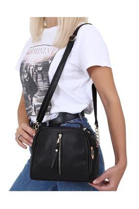 MEFA MARKET Siyah Çanta Kadın El Omuz Uzun Deri Saplı 3