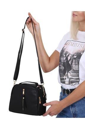 MEFA MARKET Siyah Çanta Kadın El Omuz Uzun Deri Saplı 4