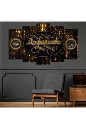 Evonya Sarı Besmele - Bismillah - 5 Parçalı Dekoratif Tablo 1