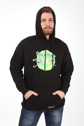 Millionaire Erkek Siyah Oversize Animasyon Baskılı Sweatshirt 0
