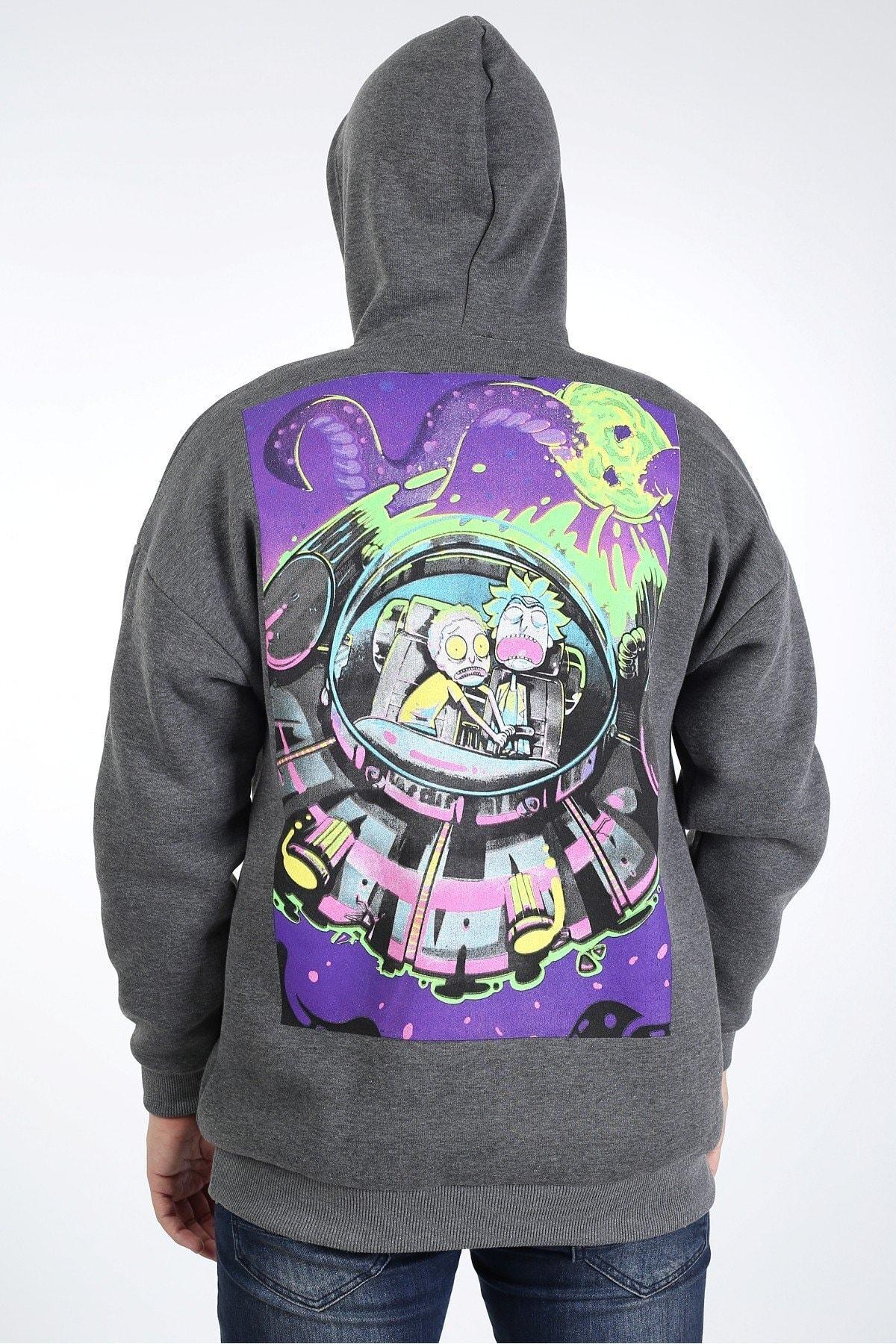 Millionaire Erkek Antrasit Melange Oversize Animasyon Baskılı Sweatshirt