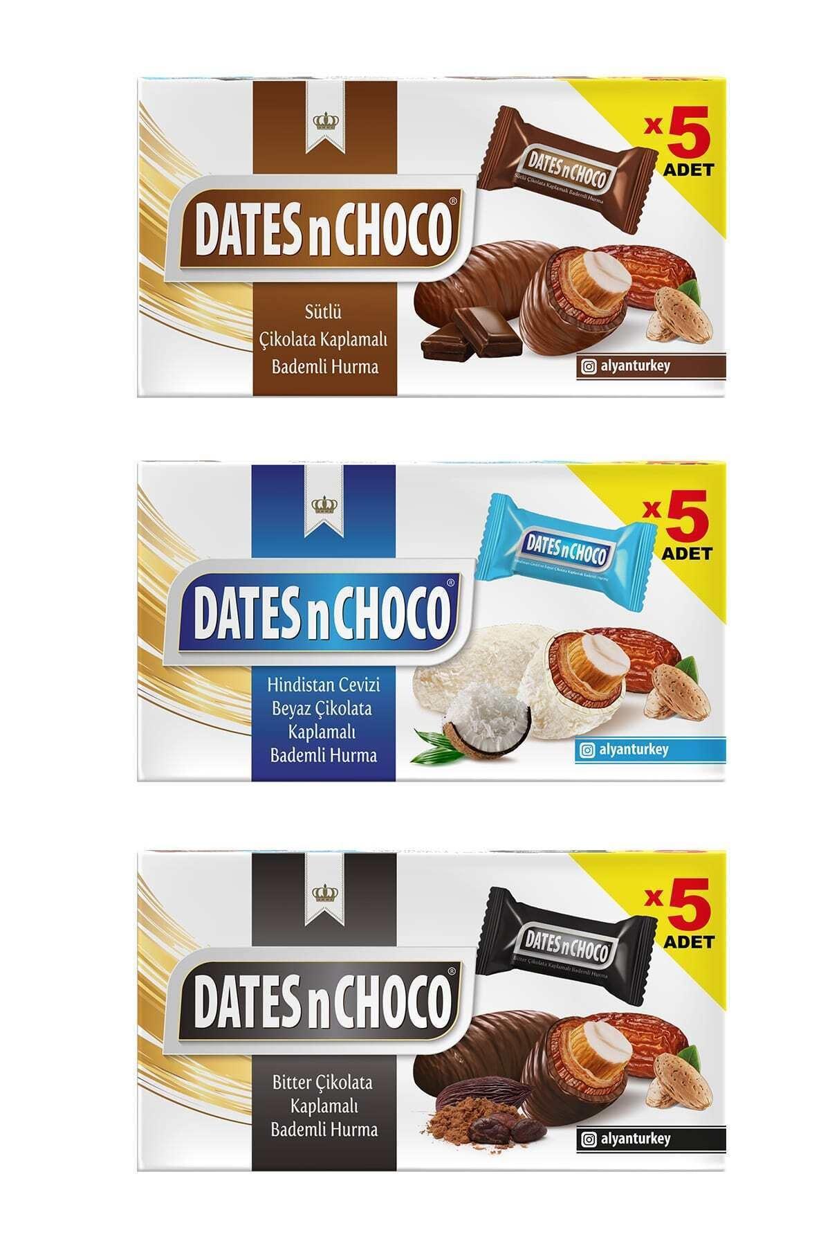 Sütlü + Hindistan Cevizi ve Beyaz Çikolata + Bitter Çikolata Kaplı Hurma