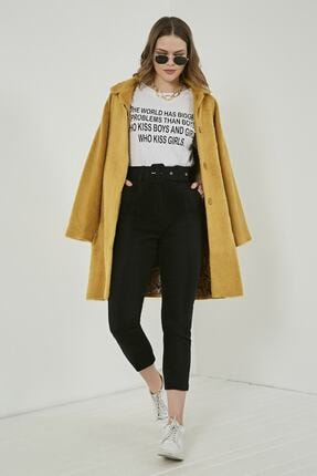 Picture of Kadın Siyah Yüksek Bel Kemerli Kaşe Pantolon