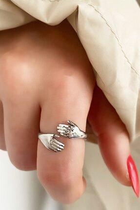 Takıştır Kadın Gümüş El Figürlü Ayarlanabilir Yüzük 0