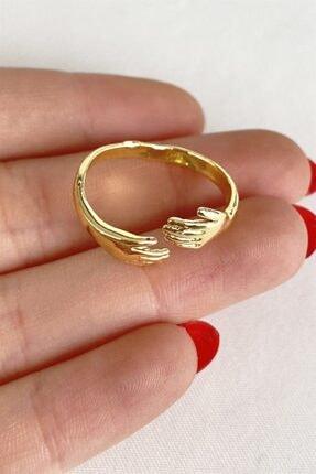 Takıştır Kadın Altın Renk El Figürlü Ayarlanabilir Yüzük 2