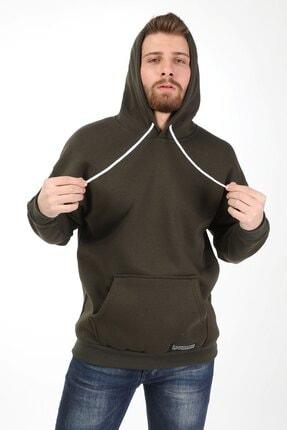 Millionaire Erkek Haki Kapşonlu Oversize Sweatshirt 2