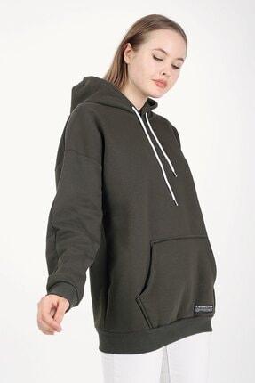 Millionaire Haki Kapşonlu Oversize Kadın Sweatshirt 1