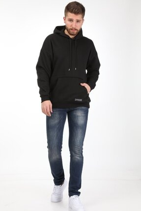 Millionaire Erkek Siyah Kapüşonlu Oversize Sweatshirt 3