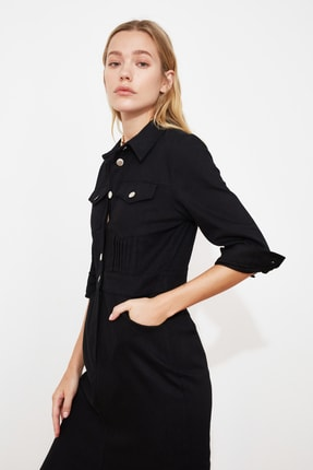TRENDYOLMİLLA Siyah Düğmeli Elbise TWOSS21EL0748 1