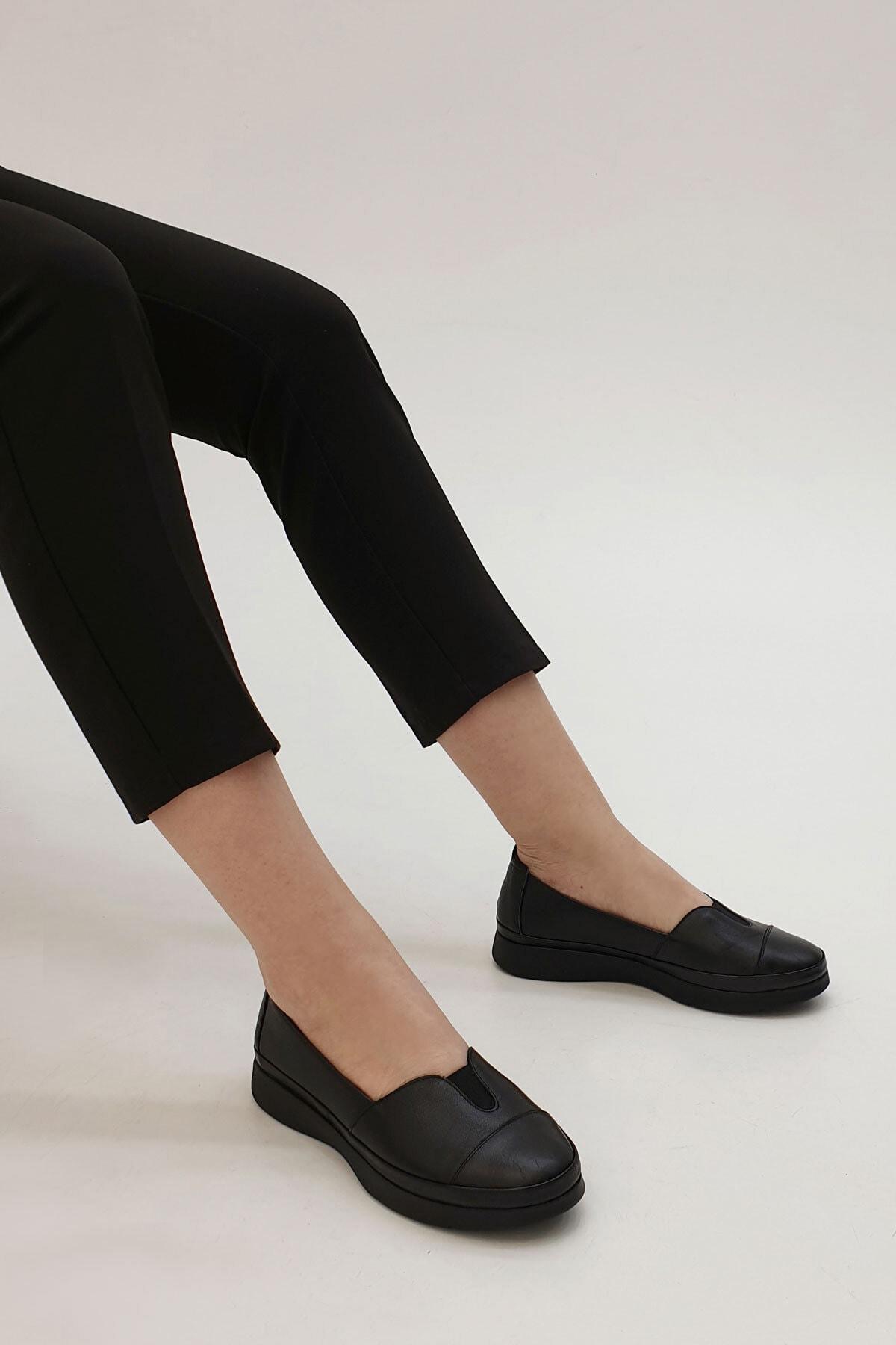 Marjin Kadın Siyah Hakiki Deri Comfort Ayakkabı Meyza 2