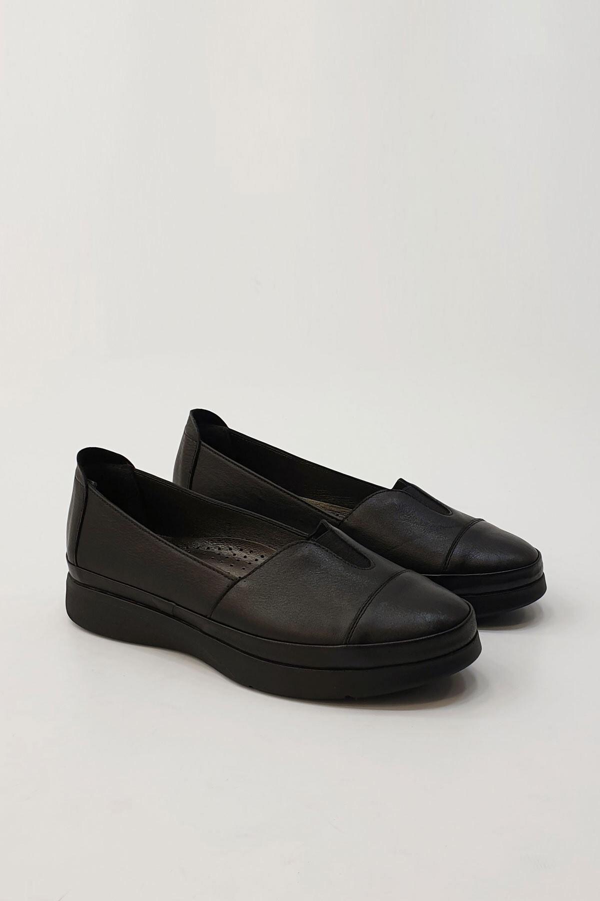 Marjin Kadın Siyah Hakiki Deri Comfort Ayakkabı Meyza 4