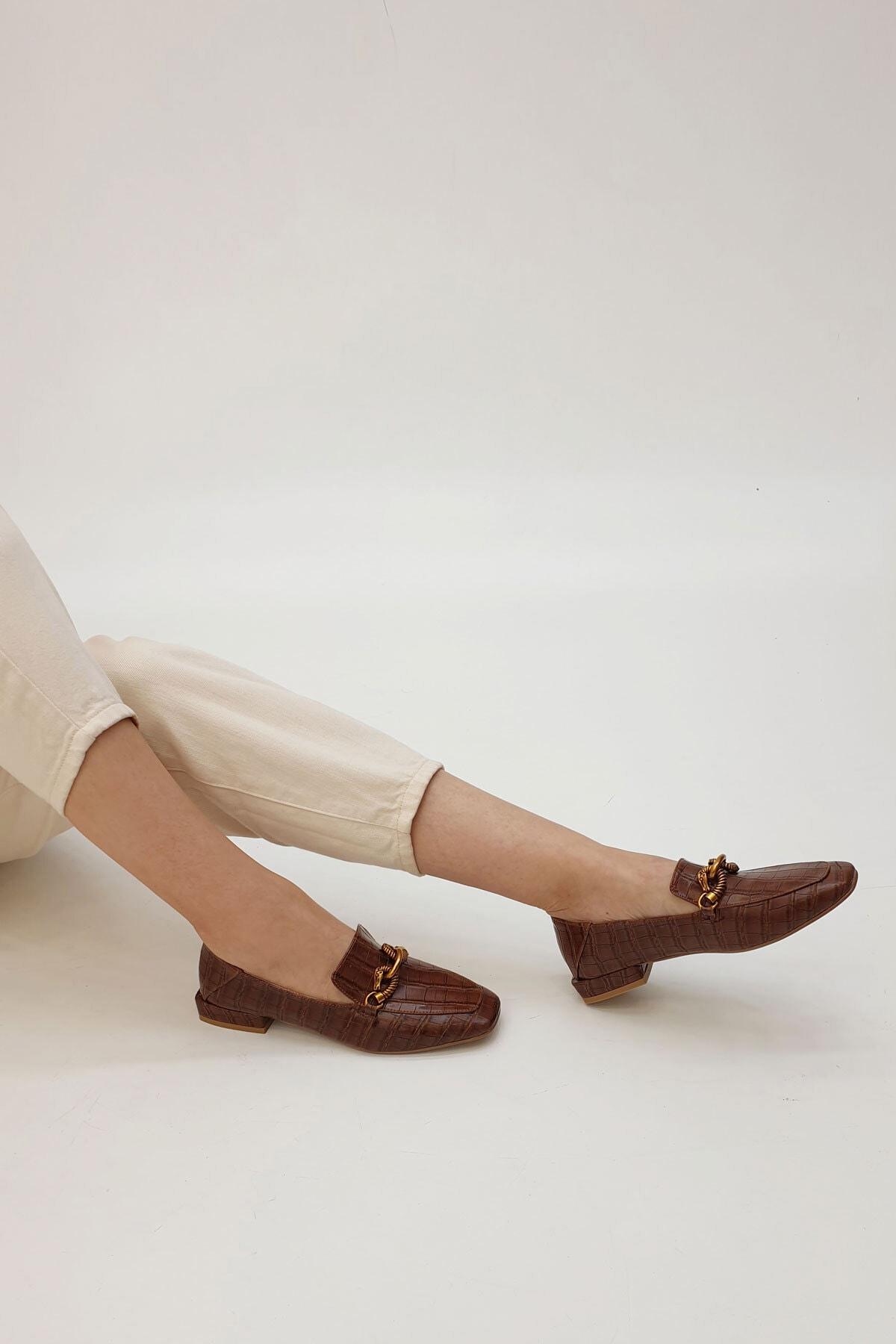 Marjin Kadın Kahve Croco Loafer Ayakkabı Alva 1
