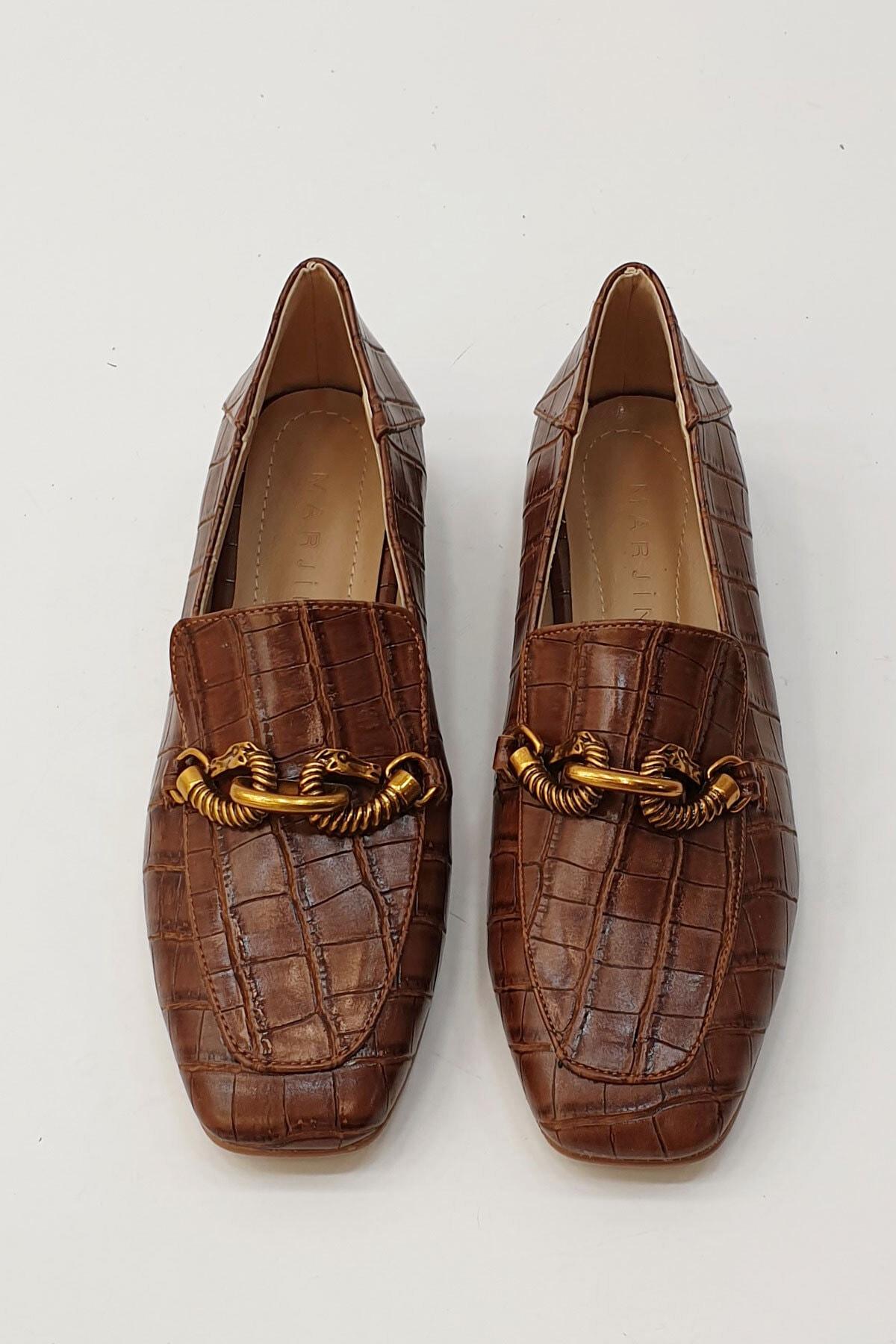 Marjin Kadın Kahve Croco Loafer Ayakkabı Alva 4